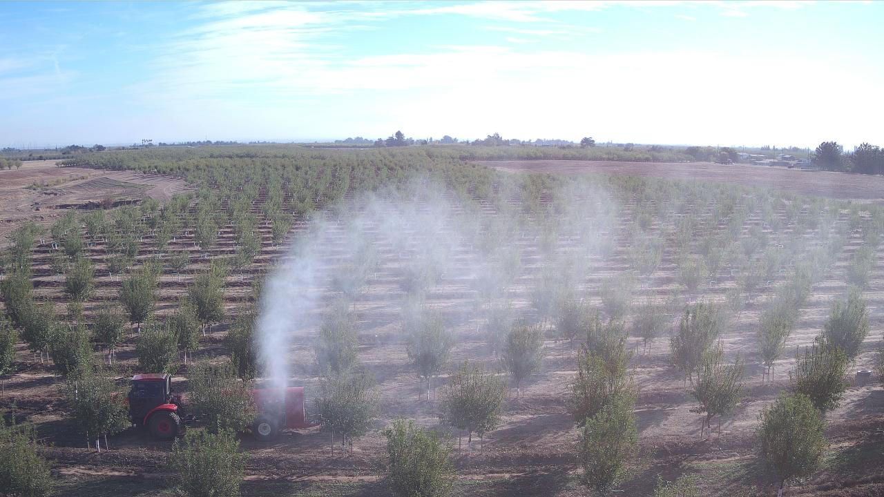 Airborne spray drift in a young almond orchard